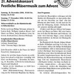 21. Adventskonzert 2006 -Ankündigung-  (Gemeindeblatt, 2006)