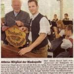 400. Mitglied der Blaskapelle(Münchner Merkur, 19.7.2008)