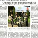 Landeswettbewerb Blechquinten und Frühjahrskonzert 2011 (Münchner Merkur 29.4.2011)