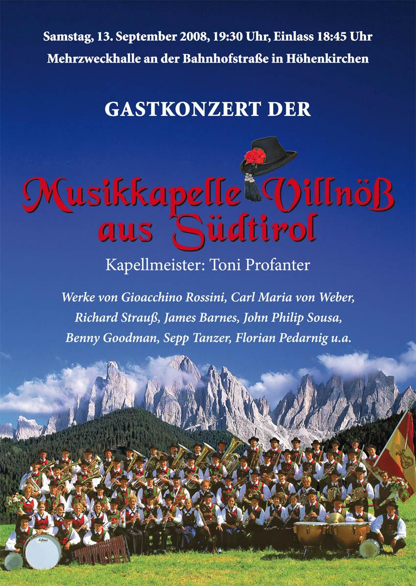 Flyer Gastkonzert 2008 Villnöß Vorderseite