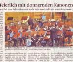 Kämpferisch und feierlich mit donnernden Kanonenschüssen  (Münchner Merkur, Landkreis Süd, 21.12.2012)