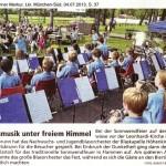 Blasmusik unter freiem Himmel (Münchner Merkur, Lkr. M.-Süd, 4.7.2013)