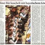Berliner Bär kuschelt mit bayerischem Löwen (Münchner Merkur, Lkr.Süd 24.1.2014)