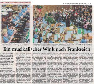 """Münchner Merkur, 13.12.2016, """"Ein musikalischer Wink nach Frankreich"""""""