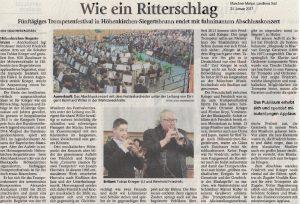 """Münchner Merkur, 24.01.2017, """"Wie ein Ritterschlag"""""""
