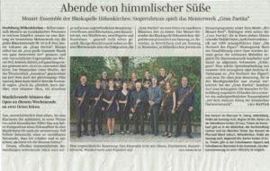 """Konzertankündigung """"Gran Partita"""" in der Süddeutschen Zeitung, 8. November 2018"""
