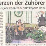 In die Herzen der Zuhörer gespielt (Münchner Merkur, 25.1.2019)