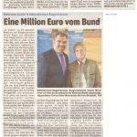 Eine Million Euro vom Bund gewährt (Hallo, 17. April 2019)