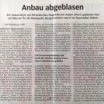 Anbau abgeblasen (Süddeutsche Zeitung, 26. Oktober 2019)