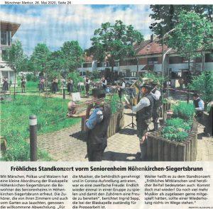 Standkonzert, Münchner Merkur, 26. Mai 2020