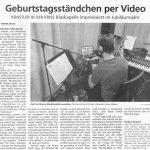 Geburtstagsständchen per Video (Münchner Merkur, 29. April 2020)